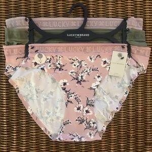 Lucky Brand NWT Set of 3 Super Soft Bikinis Sz L